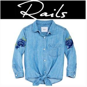 Rails Girls SZ 14 Embroidered Tie Front Shirt